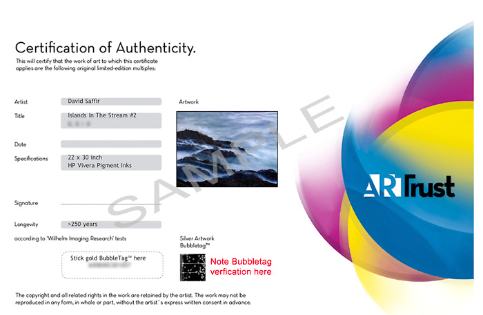 Certificate of authenticity david saffirs photography and the arttrust certificate of authenticity yadclub Image collections