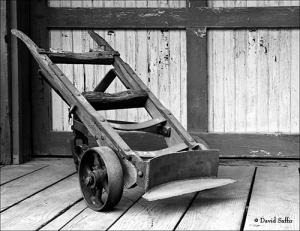 black and white image of antique railroad hand truck © d saffir