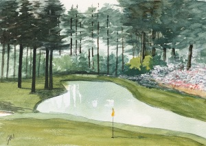 Jim Hull Watercolorist Golf Scene