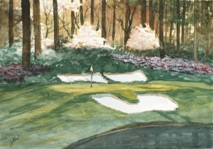 Jim Hull Watercolor Painting Golf Scene #2