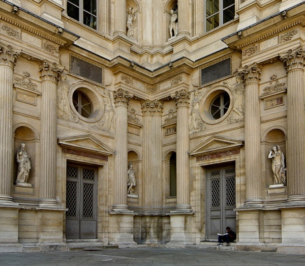 Corner of the Main Plaza at the Louvre, Paris